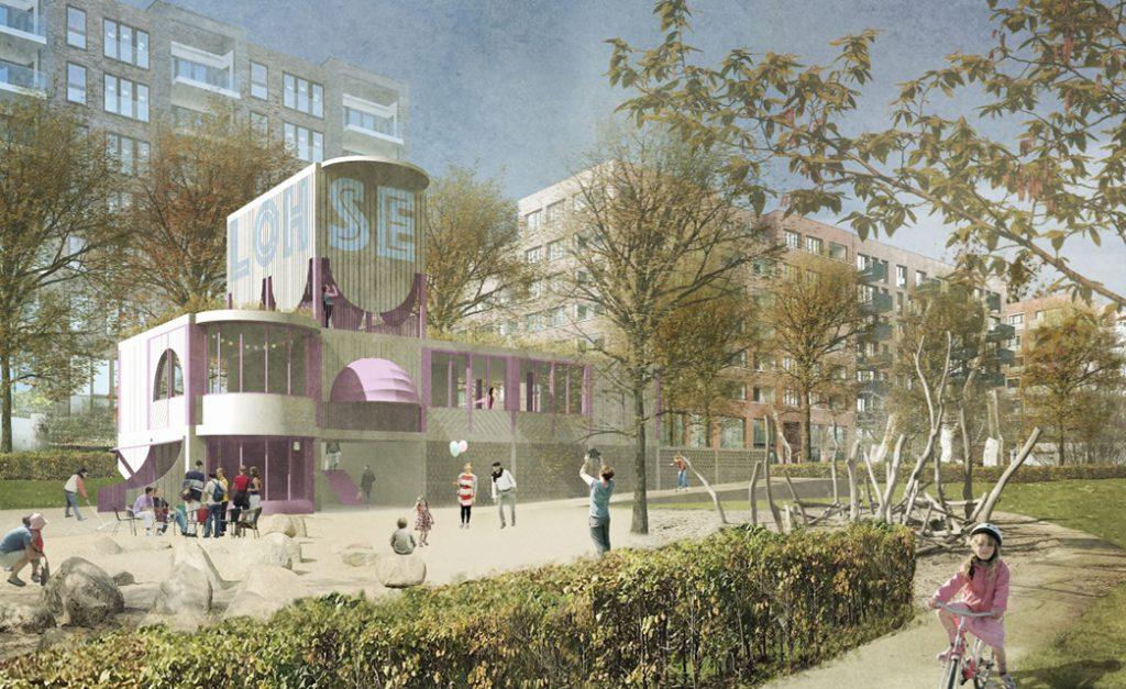 Gemeinschaftshaus Lohsepark, Architekten rethmeierschlaich architekten, Köln. Visualisierung: HafenCity Hamburg GmbH