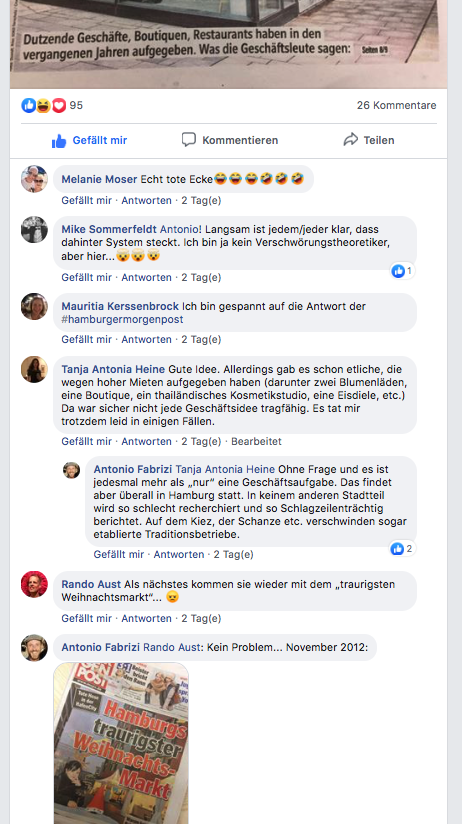 """Anwohner-Antworten auf Antonio Fabrizis Facebook-Post zum HafenCity-Bashing der """"Mopo"""" am 16. Oktober 2019. ©FB/Screenshot"""