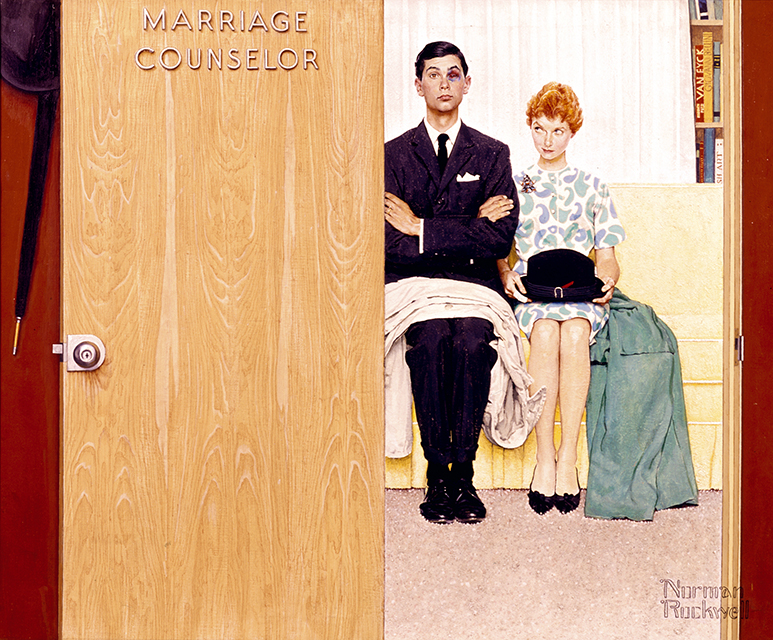 Norman Rockwell: Marriage Counselor, 1963; Norman Rockwell Art Collection Trust; © The Norman Rockwell Family Agency