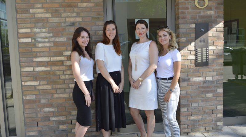 v.l. starkes Beauty-Team in der HafenCity: Maxine Jahns, Babette Demmert, Lilia Dell und Julia Möller