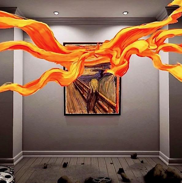 """Sandra Paugams und Charles Ayats nach """"The Scream"""", """"Der Schrei"""" von Edvard Munch: Ins Gemälde hineingreifen und Farbe herausholen. Foto: Wolfgang Timpe"""