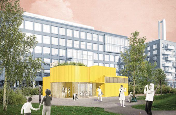 Gemeinschaftshaus Grasbrookpark, Architekten Arge Hoffmann, Schlüter, Zeh, Köln. Visualisierung: HafenCity Hamburg GmbH
