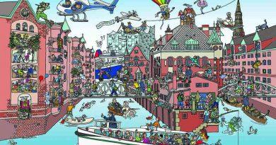 """Das historische Lagerhausviertel hat sich zu einem bunten Quartier gemausert. @Illustration: """"Das wunderbare Wimmelbild"""" Wiebke Gebers"""