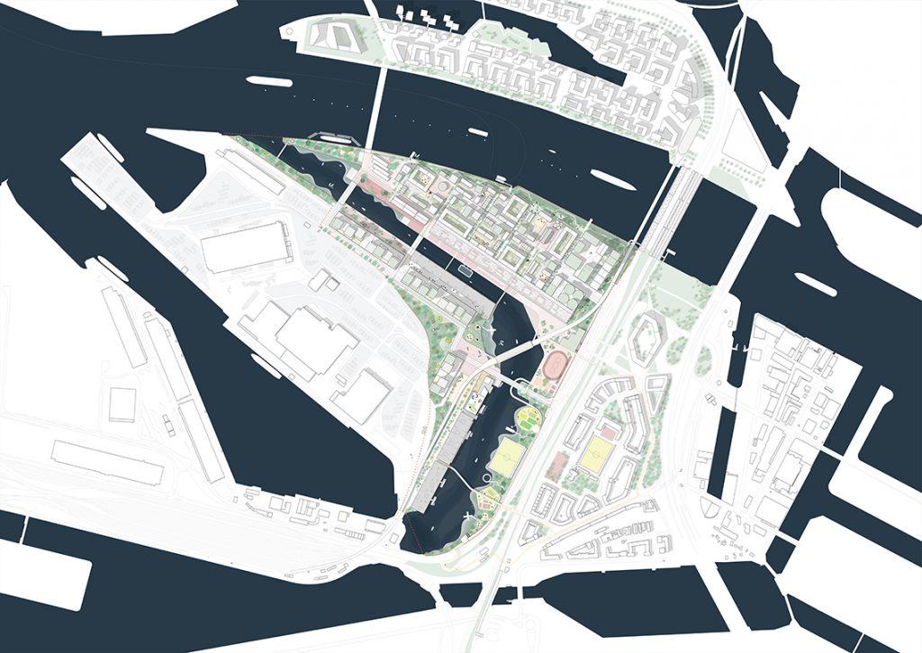Lageplan Grasbrook mit Grünstreifen an der Norderelbe, lange Wassererlebnisfront am Moldauhafen und viele Sport und Freizeit am Saalehafen. © Mandaworks AB, Stockholm