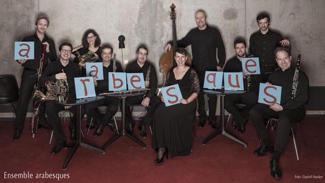 Das Ensemble arabesques spielt mit Trompeter Matthias Höfe im kleinen Saal der Elbphilharmonie. © EA_Schild_Daniel_Haeker