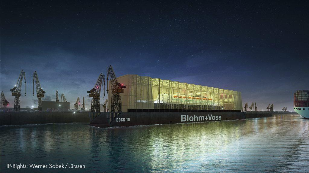 Hamburger Hafenpanorama mit neuem Dock 10. © Werner Sobek / Lürssen