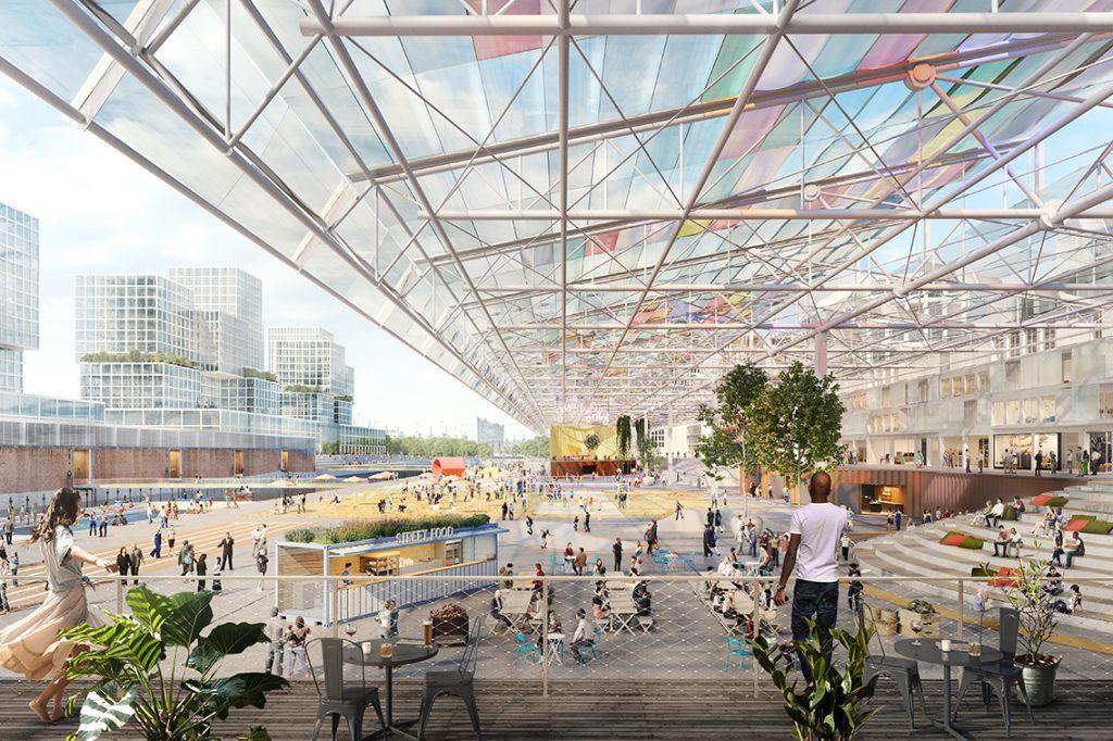 Voraussichtlich ein Herzstück des neuen Stadtteils Grasbrook: Das 500 Meter lange Dach des heutigen Überseezentrums am Moldauhafen in einer Vision als öffentlicher Raum von den Stockholmer Architekten von Mandaworks AB. © Visualisierung: Mandaworks AB