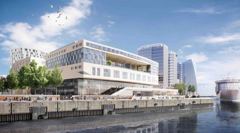 Außenansicht des HafenCity Hamburg Cruise Center mit dem geplanten Luxus-Design-Haus Pullman-Hotel im 3. OG. Das Premium-Haus wird über 250 Zimmer in dem vom französischen Architekten Christian de Portzamparc entworfenen Gebäude präsentieren. © URW