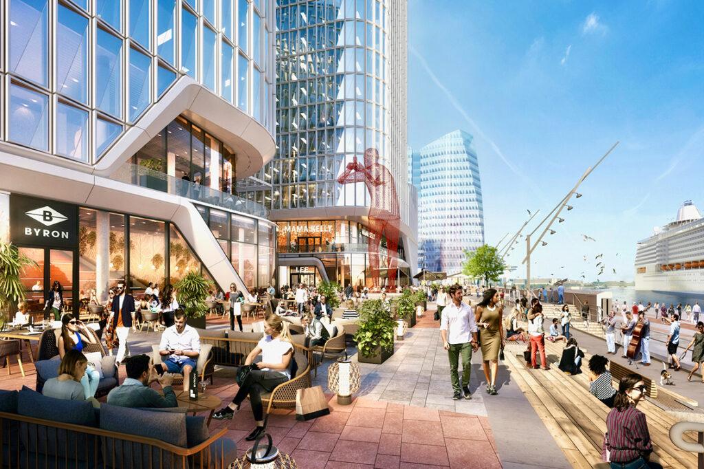 """""""Die HafenCity ist von Anfang an einen anderen Weg gegangen. Man wollte Vielfalt in der Architektur und auch in der städtebaulichen Ausprägung. Es macht nichts, wenn ein Haus mal niedriger oder herausragender ist. Auch höhere Gebäude sind wichtig für Orientierung in Teilen von Städten."""" © moka-studio / URW"""