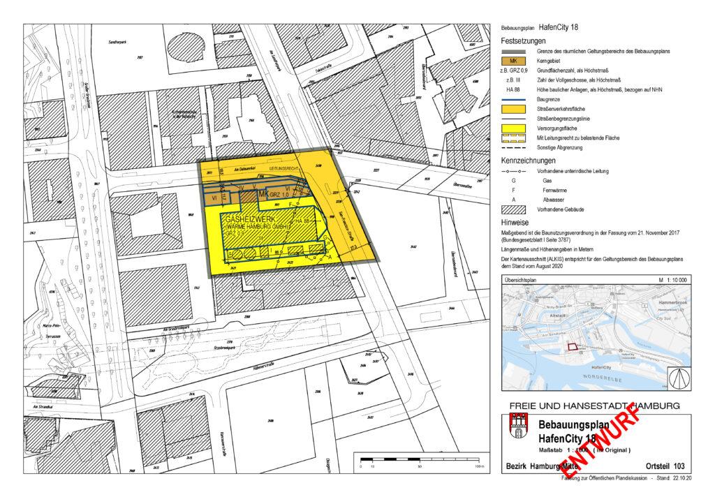 Planungsentwurf für das Baugrundstück des HCH-Nullemissionshauses (braune Fläche; 6 Geschosse) im Bebauungsplan HC18, Ecke San-Francisci-Str. / Am Dalmannkai, nördlich vom Heizkraftwerk HafenCity. © HCH