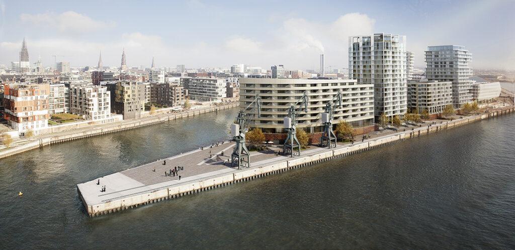 """Das Filetstück Strandkai neben Marco-Polo-Tower und gegenüber der Elbphilharmonie: """"Die Lage auf dem Strandkai ist auch deshalb etwas Seltenes, weil hier nicht nur Wasser auf Land trifft, sondern man zugleich viele einzigartige Blicke hat: auf den Hafen, die Elbe, die Sonnenauf- wie Sonnenuntergänge über der Elbe, auf die Elbphilharmonie und auch auf die Stadt-Silhouette."""" © DC Developments"""