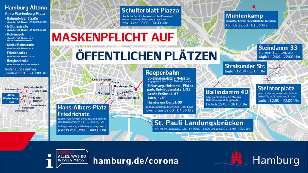 Übersichtskarte Hamburg für Maskenpflicht an öffentlichen Plätzen. © Senatskanzlei