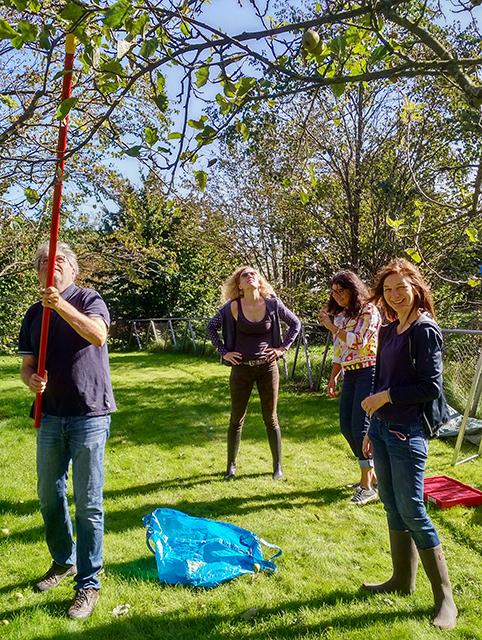 Anwohner*innen Andreas Honert, Silja Strauss, Sahra Wendt und Marianne Wellershoff (v.l.) bei der Nachbarschafts-Apfellese. © Wolfgang Weisbrod-Weber