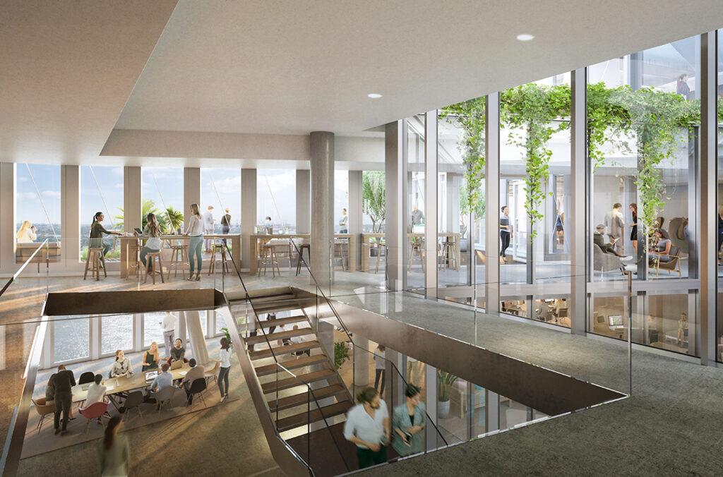 """Arbeiten im """"Lee""""-Turm von Westfield Hamburg-Überseequartier: 1.700 Arbeitsplätze entstehen dort, die sich auf 13 Stockwerke verteilen. Die Architekten von UNStudio planen die gläsernen Fassaden so, dass die Gebäude von natürlichem Licht durchflutet werden. © Moka-studio / URW"""