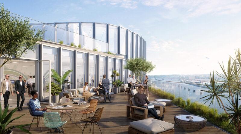 """Die Skybar im Bürogebäude """"Lee"""" im Westfield Hamburg-Überseequartier im 13. Stock. © moka-studio / URW"""