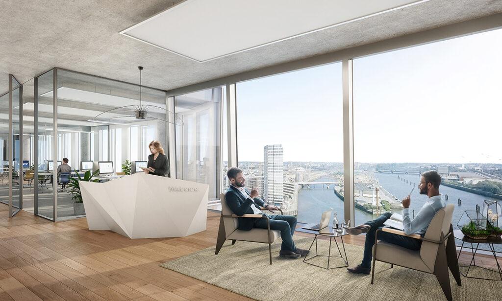 """Büroaussicht vom """"Skysegel"""" mit Blick auf den Watermarktower, den Baakenhafen und die Norderelbe mit den Dalben für die Aufliegerschiffe (ohne Fracht und Auftrag): """"Entworfen"""", so die Architekten, """"um zu inspirieren, interagiert das ,Skysegel' mit der Außenwelt"""" und biete den 1.650 Mitarbeitern auf 21.180 Quadratmetern """"flexible und lichtdurchflutete Arbeitsplätze mit atemberaubenden Ausblicken über die Hansestadt"""". @ moka-studio / URW"""