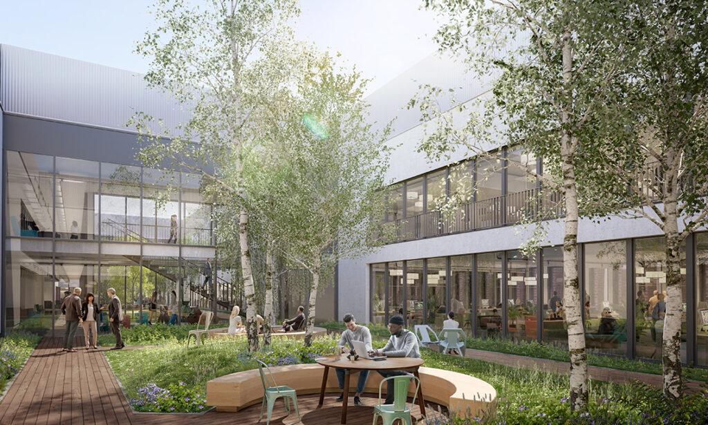 """Bürogebäude """"The Yard"""", Innenhöfe: Das Architekturbüro Lederer Ragnarsdóttir Oei setzt auf große Büroräume, die um drei begrünte Mittelhöfe angeordnet sind. Diese einladenden grünen Oasen fördern die Kommunikation und die Kreativität. © moka-studio / URW"""