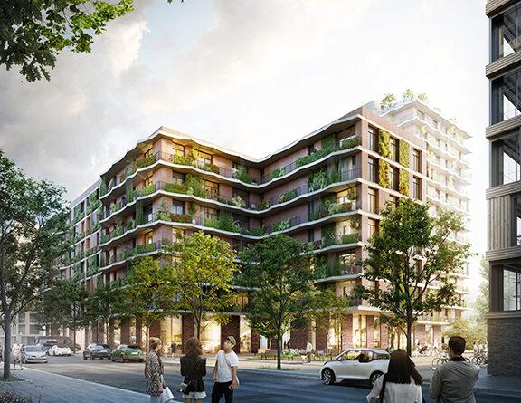 """Nachhaltige Wohntürme am Baakenhafen im Elbbrückenquartier – HafenCity-Hamburg-Chef Prof. Jürgen Bruns-Berentelg: """"Die HafenCity und insbesondere das Quartier Elbbrücken hat sich zu einem großen Zukunftslabor für nachhaltiges Bauen entwickelt. Das Wohnhochhaus der Moringa GmbH by Landmarken AG zeigt, dass wir auf der Ebene einzelner großer, urbaner Gebäude viel dazu beitragen können, Stadt nachhaltig zu denken und zu bauen."""" © Moringa GmbH by Landmarken AG"""