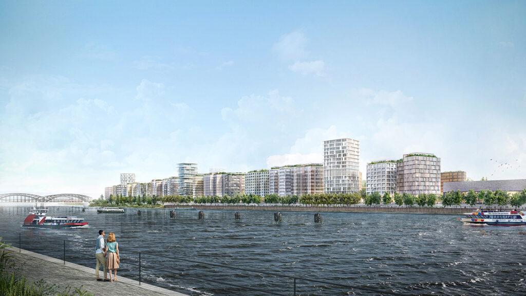 Blick von der HafenCity auf den künftigen Stadtteil Grasbrook: An der großzügigen Elbuferpromenade  ist eine Bebauung geplant, die den Dialog zum gegenüberliegenden Baakenhafen-Quartier aufnehmen soll. © Herzog & de Meuron | Vogt