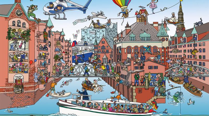 """Die Vorlage: das bunte Wimmelbild der Speicherstadt. © """"Quartier""""-Themenheft NO. 1 – Kulturdenkmal Speicherstadt © euf-edition.de / quartier-magazin.com; Illustration: Wiebke Gebers"""