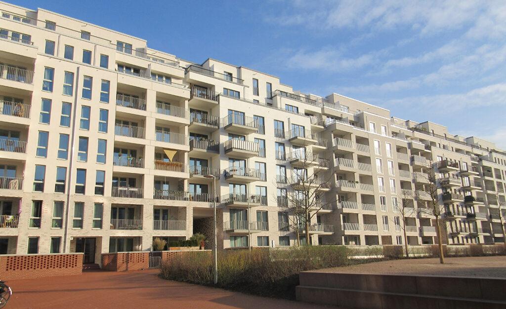 Hammerbrook wächst: 750 Wohnungen im Sonnin-Quartier auf dem früheren Gelände des Elektronikherstellers Sharp und 330 Wohnungen im Projekt Hammerleev. © Dagmat Leischow