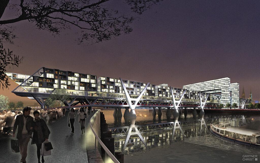 """Nicht umgesetzt: """"Die Living Bridge wäre ein Highlight geworden. Ich hatte 1.000 Wohnungen überm Wasser geplant. Ein Großteil der Hamburger stand diesem Projekt positiv gegenüber."""" © Gärtner + Christ"""