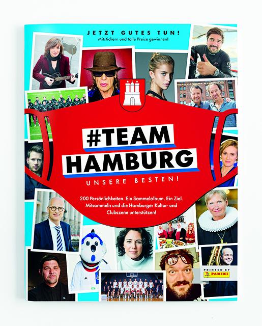 Von Udo Lindenberg bis Bischöfen Kirsten Wehrs: 200 Prominente Stickerbildchen-Hamburger mit Maske ins große Hamburg-hilft-KünstlerPanini-Magazin. © #TeamHamburg