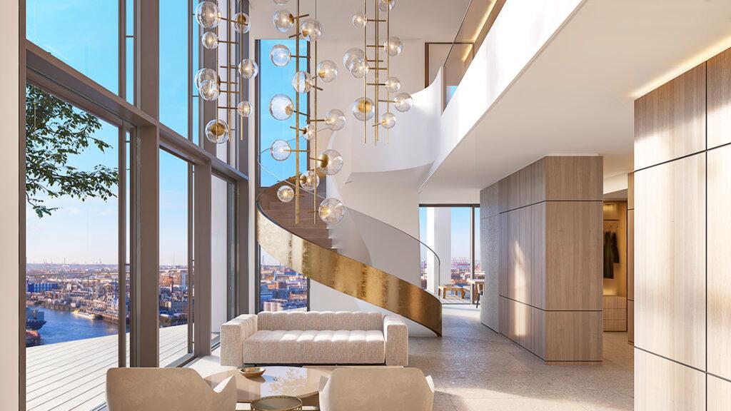 Im zweistöckigen Penthouse bieten hohe Glasfronten himmelweite Blicke gen Elbe und Elbphilharmonie. © DC Developments