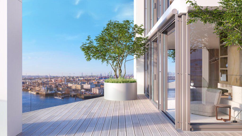 Von Architekt Christoph Ingenhoven entworfene Dreieck-Terrassenflächen bieten neben dem Ausblick attraktive Großflächen zum Outdoorleben – über dem Hafen und der Elbe.© DC Developments