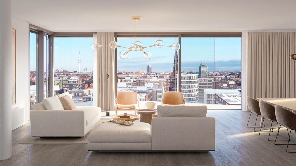 Die Skyline Hamburgs liegt den Bewohner:innen sprichwörtlich zu Füßen. © DC Developments