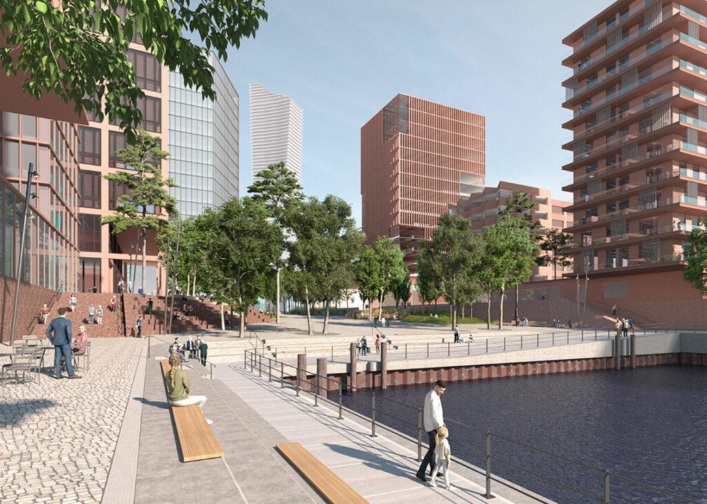 """Der Verdienst des Erfolgs der HafenCity sei, so Tschentscher, """"dass wir uns solche Stadtentwicklungsprojekte auch in Zukunft an anderer Stelle zutrauen können."""""""