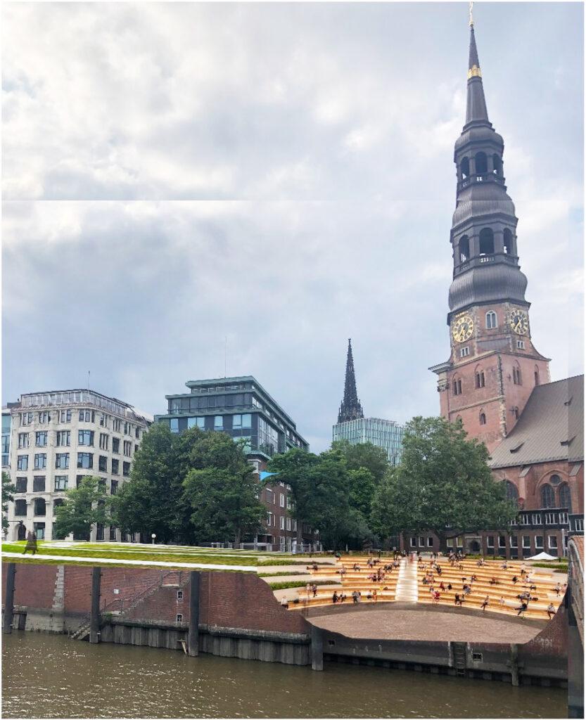 Vision 2: Vor St. Katharinen könnte ein Theater mit einem Halbrund von Treppen zum Wasser des Zollkanals hin entstehen. © Cities for Future